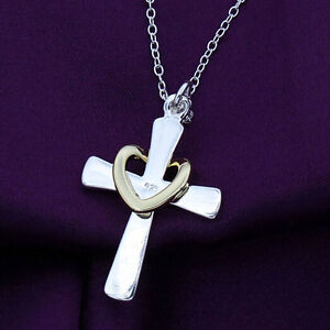 Fashion-Women-Girl-Silver-Plated-Jewelry-Cross-Love-Heart-Pendant-Chain-Necklace