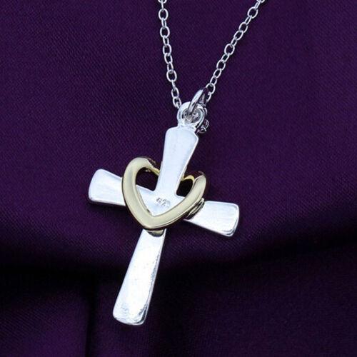 Filles Silver palated Bijoux Croix Coeur Amour Charme Pendentif Chaîne Collier Cadeau