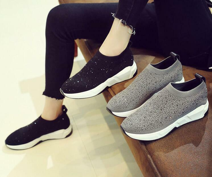 Sneakers Women Athletic Slip on shoes Black Rhinestone knitting Comfort Loafers