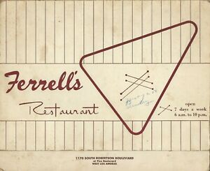 Vintage FERRELL'S Restaurant Menu Los Angeles California 1958