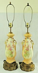 Pair-Antique-Vtg-Hand-Painted-Porcelain-FLOWERS-Gold-Trim-Brass-Urn-Table-Lamps