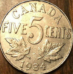 Canada 1934 5 Cent Coin.