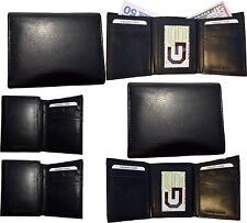 Lot of 6 New Men/'s Black leather trifold wallet 6 credit cards 2 billfolds BN