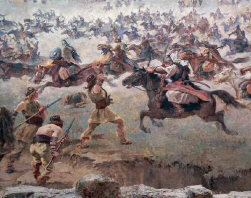 Hungarian Warriors Battle Scene Horses Archers Swords Spears 6x5 Inch Print