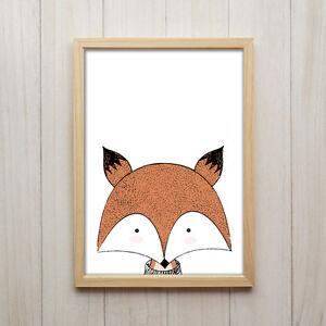 Image Is Loading A4 Fox Nursery Print Woodland Wall Art Modern