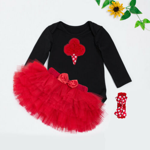 3PCS Baby Girl First Romper Tutu Tops+Skirt+Headband Pricess Party Outfit Set UK