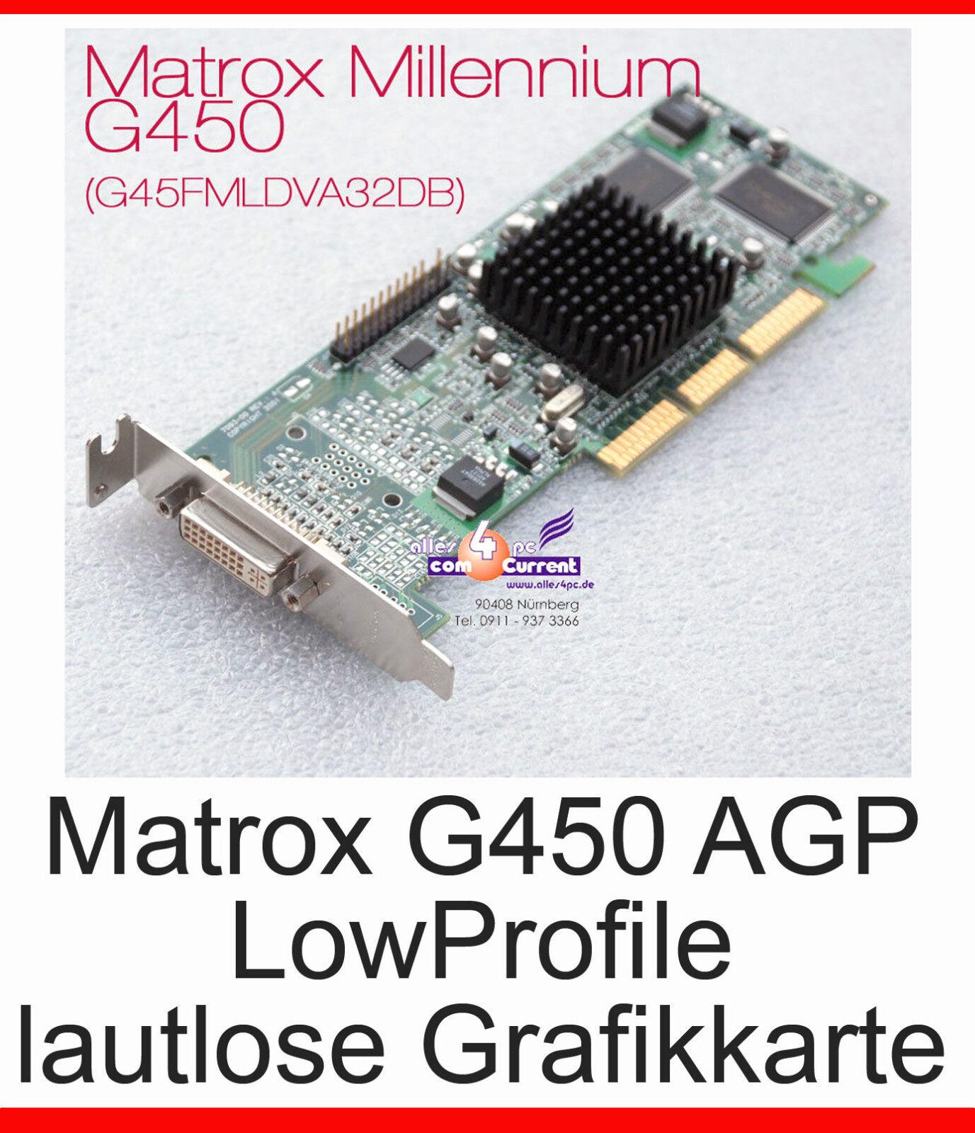 Graphic Card Matrox AGP DVI G450 -32 Low Profile G45FMLDVA32DBF -G21