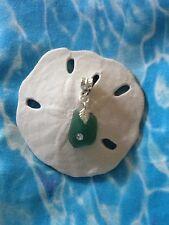 RARE Teal Blue CZ ADD A BEAD Mediterranean Sea Glass Pandora Pendant Or Charm