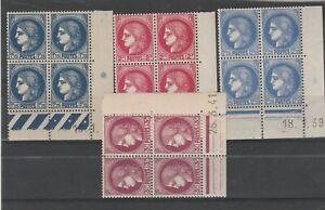 FRANCOBOLLI-1938-39-FRANCIA-TIPO-CERERE-4-QUARTINE-MNH-MLH-E-1706