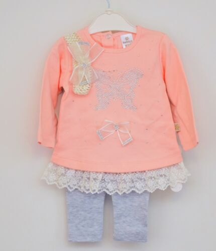 3PC Baby Girl Pink//Grey Kids Top+Leggings+Head Band Set Clothes Outfit 0-3-6-9M