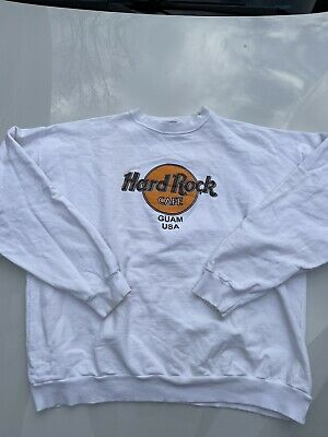 Vintage HARD ROCK Cafe Guam Usa Sweatshirt Jumper Unisex Kids Large Size Made In Usa White Color Great Condition