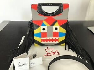 1657a9823c6 Details about Christian Louboutin Black Tribalou Fringe Multi-color Leather  Cross Body Bag NWT