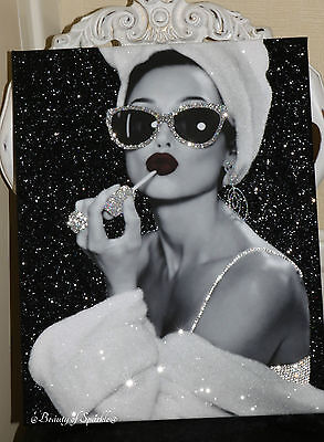 """Hepburn Glitter Art picture Girls Night In"""" A Framed or Canvas!"""