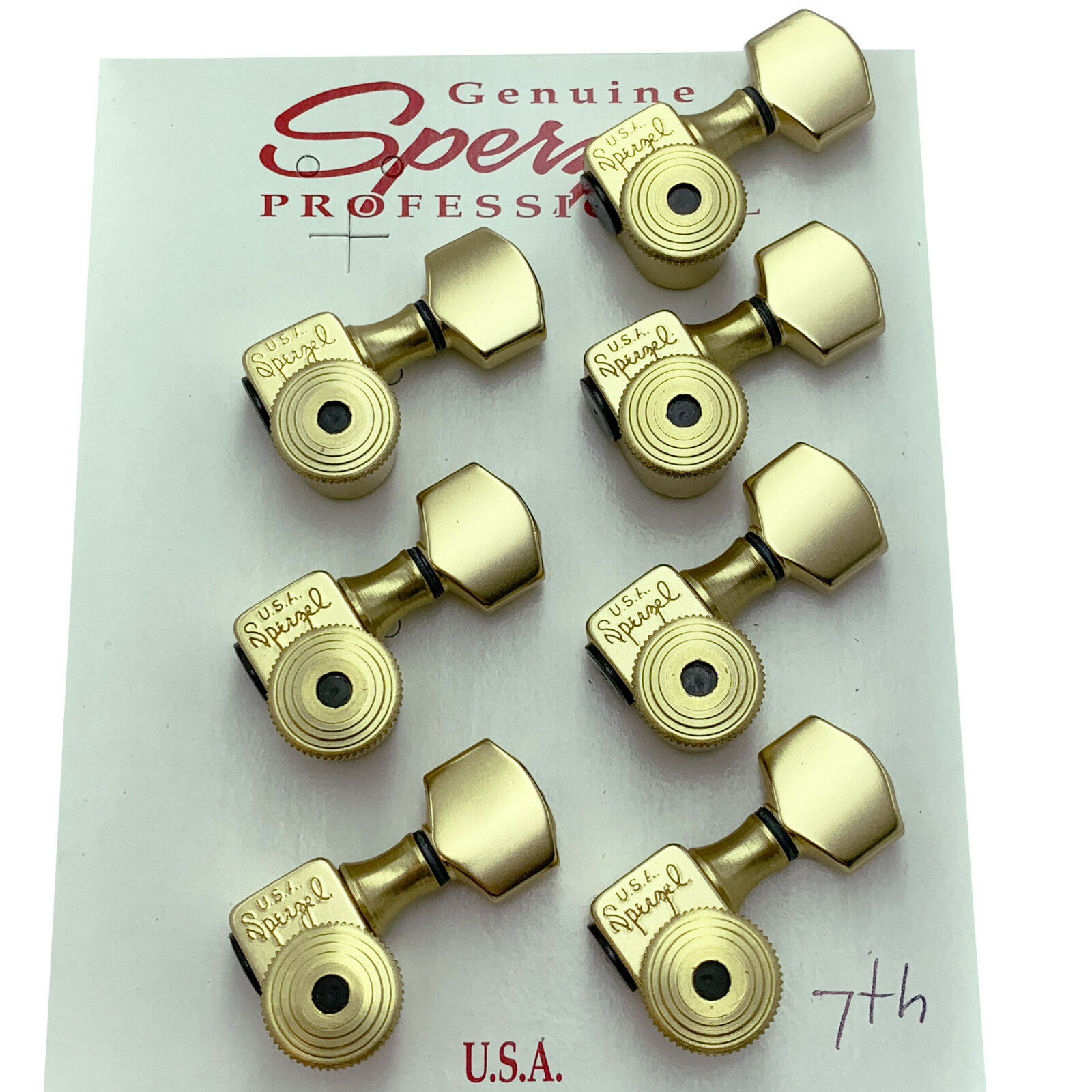 NEW USA Sperzel 7-String Trim-Lok Set Tuner Locking Key w  Screws - SATIN Gold