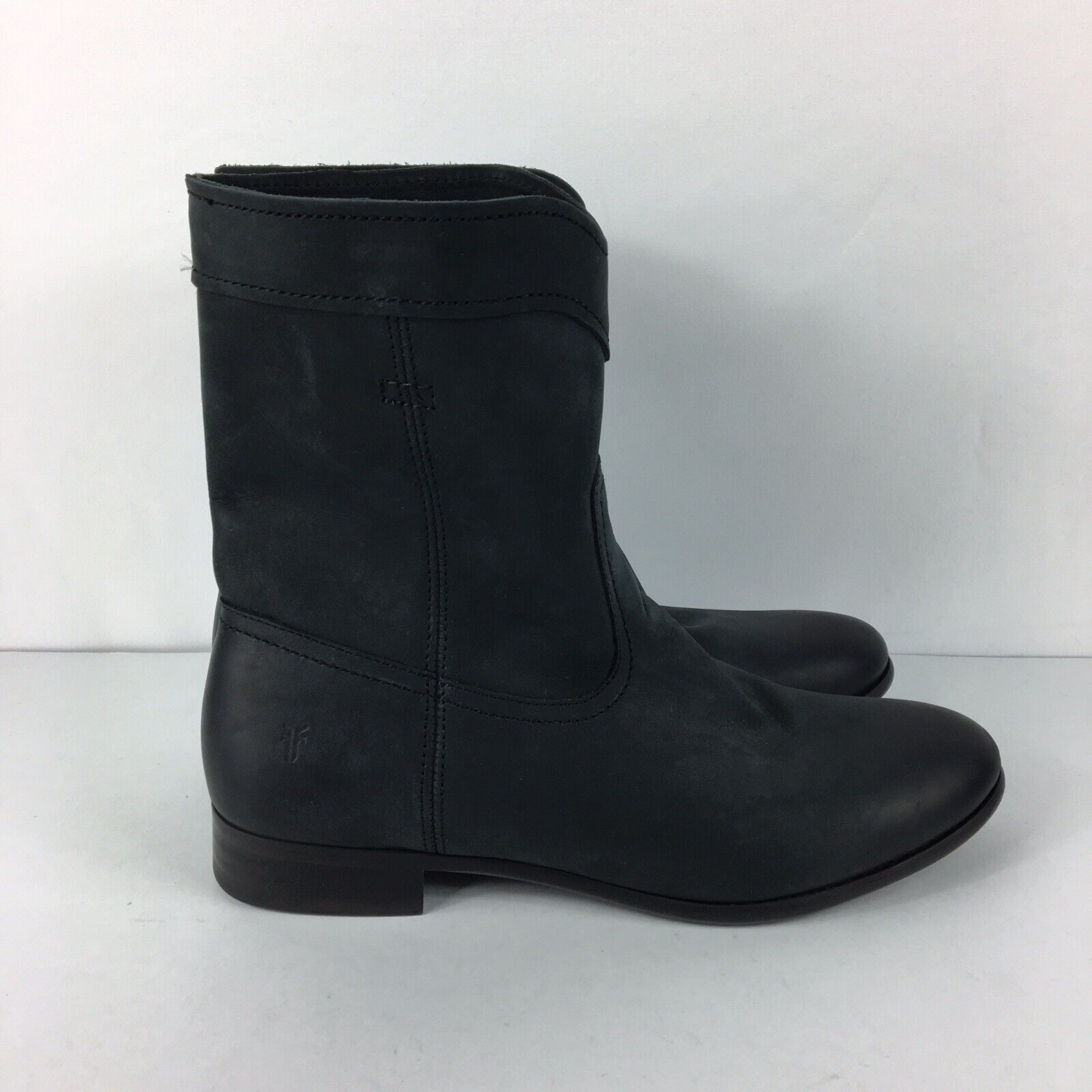 Frye Cara Roper Short Riding Boots Womens Leather Cowboy Round Toe Black Sz 7.5