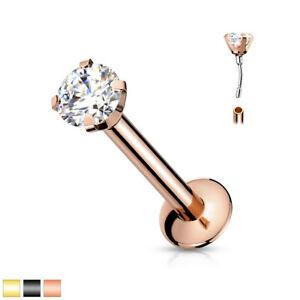 1pc Push In Prong Set Gem 16g Labret Monroe Stud Lip Ring Helix Ear Cartilage