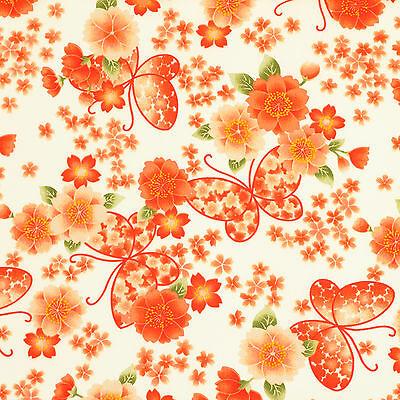 FQ JAPANESE BUTTERFLY & ORIENTAL SAKURA FLOWER Cotton Fabric Dress Quilting VK54