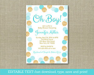 Oh boy blue gold glitter dots printable baby shower invitation image is loading oh boy blue amp gold glitter dots printable filmwisefo