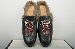 0f6c78cf76d GUCCI 995  Authentic New Black Fur Lined Leather Princetown Snake ...