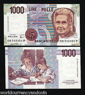 ITALY 1000 1,000 MIL LIRE P114 1990 PRE EURO MONTESSORI UNC ITALIAN MONEY NOTE