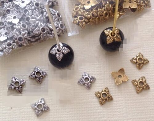 Lots 100pcs Tibetan Silver//Golden//Bronze Tone Leaf Bead Caps 6mm U Choose Color