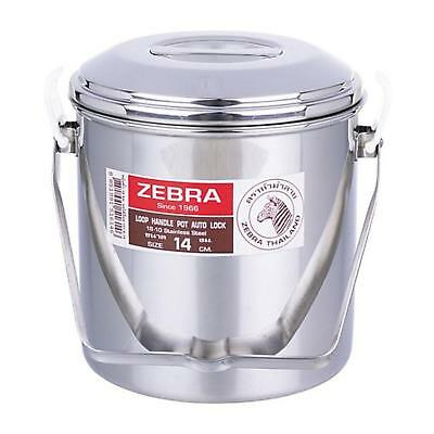 Stainless Steel Loop Handle Cooking Pot Cans Mess Tin Pan Lunch Box 14cm