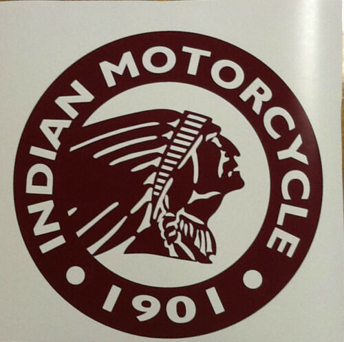 "Large Round Dark Red Logo Vinyl Decal Sticker Indian Motorcycle 24/"" Diameter"