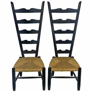 Details About 1950 High Back Italian Chiavari Fireside Chairs