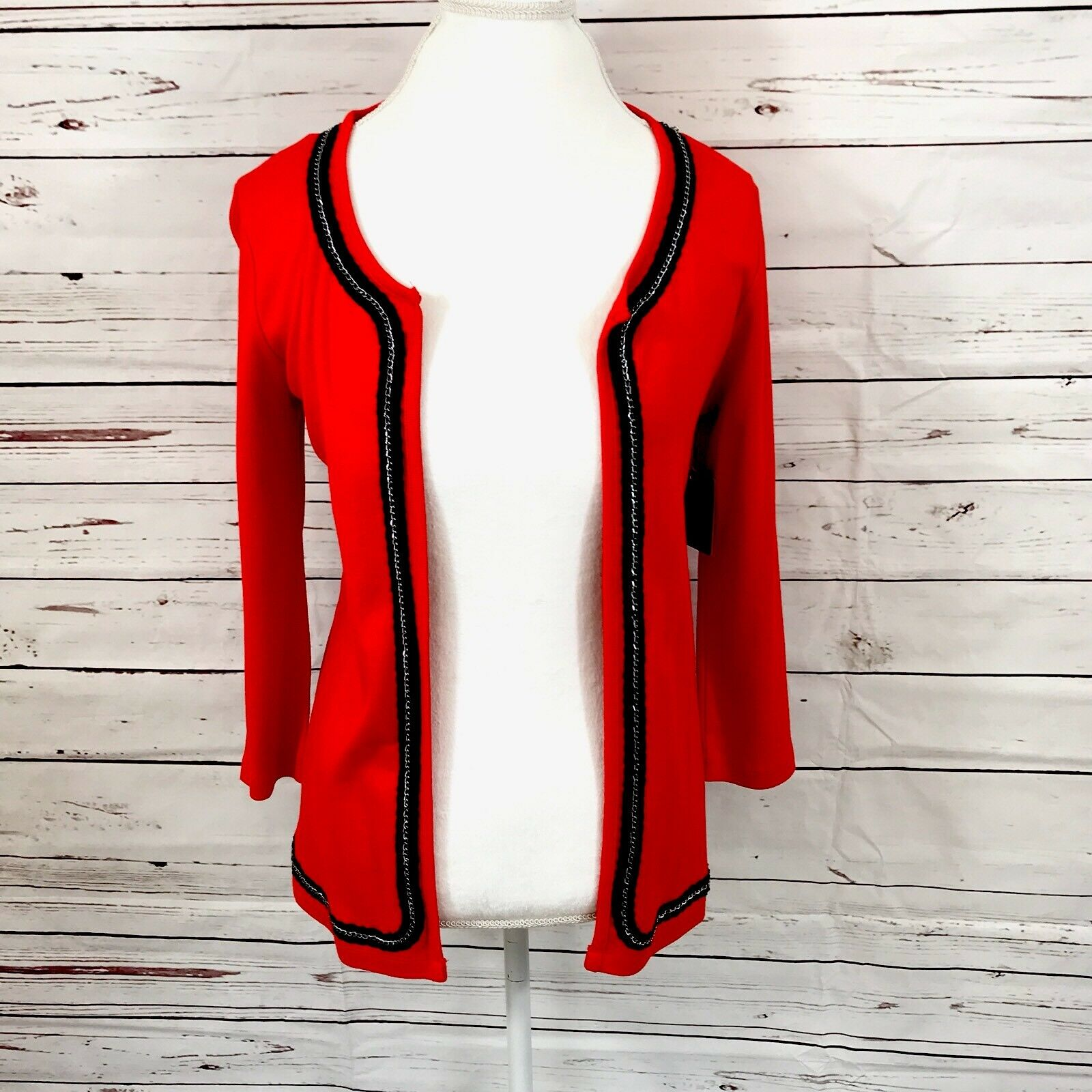 Rafaella women's cardigan buttonless red size S NWT