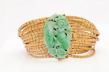 Antique 1950 $15,000 50ct Natural Green Jade 18k Gold Bracelet HEAVY 100g SIGNED