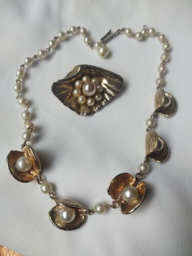 Vintage Shell And Pearl Necklace And Coro Brooch
