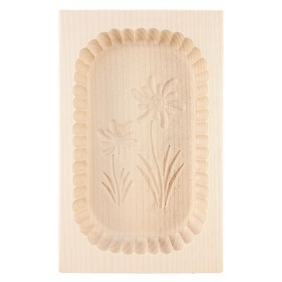 Wooden Scalloped Edge Edelweiss Flower Motif Carved Box Butter Mould Press 500g
