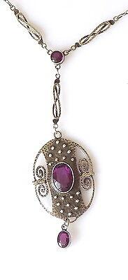 Stunning Arts & Crafts Jugendstil Theodor Fahrner Silver Amethyst necklace