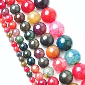 Tourmaline-Agate-Gemstone-Round-Loose-Spacer-Beads-16-Strand-4-6-8-10-12mm