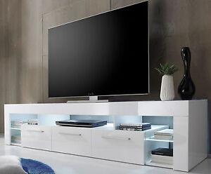 tv lowboard tv tisch in weiss hochglanz count fernsehtisch hifi m bel mit 200 cm ebay. Black Bedroom Furniture Sets. Home Design Ideas
