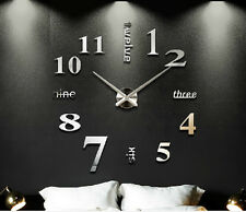Home Office Art Modern DIY 3D Art Mirror Large Numeral Stickers Wall Clock