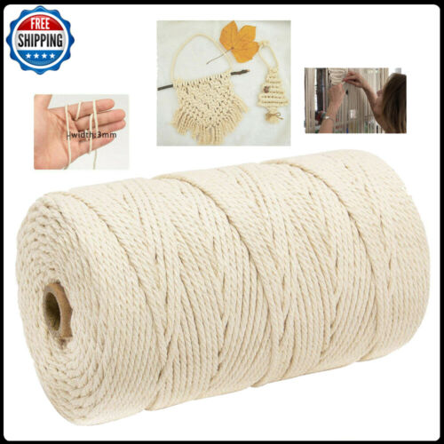 3mm x 200m Macrame Cotton Cord for Wall Hanging Dream Catcher Cotton Rope Fast S