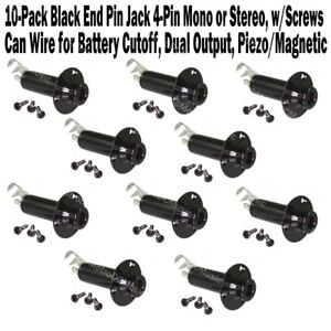 image is loading 10-pack-black-end-pin-cylinder-jack-stereo-