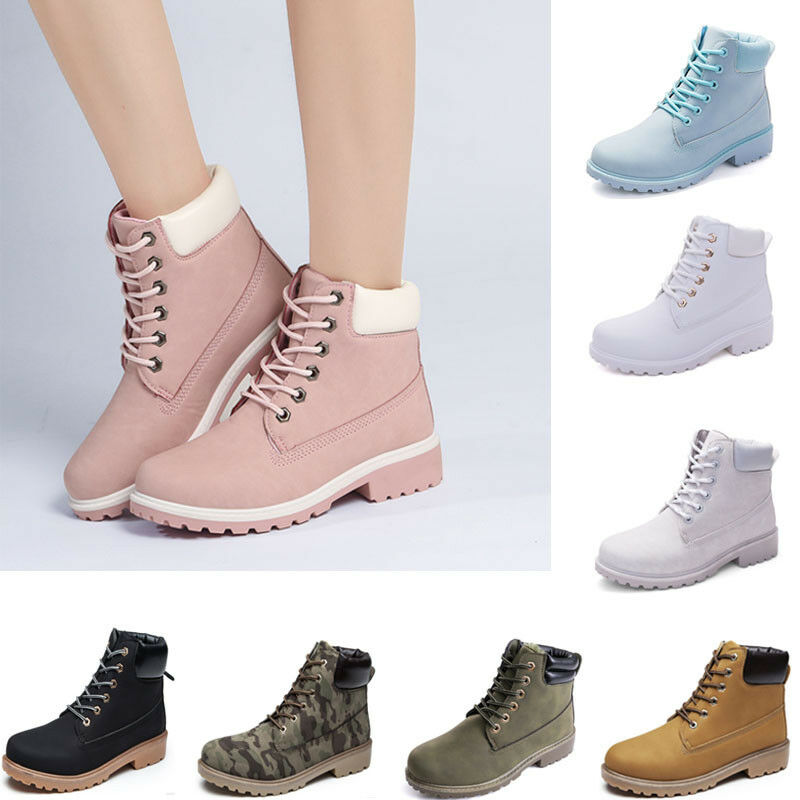 Women's SPRING Waterproof high top Martin Ankle Boots Outdoor Work Lace up shoes