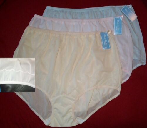 3 Pair Dixie Belle Assorted Nylon Size 8 Scalloped Leg Panty Style 719 USA Made