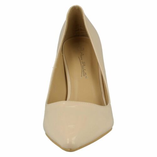 Ladies Nude Patent Slip On Anne Michelle Heeled Court Shoes F9758