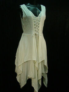 Cotton-Chemise-lace-and-emboidery-hippy-boho-bohemian-wedding-dress-size-L-XL