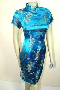 Asian Chinese Woman Short Silk Dress Turquoise DXDQ