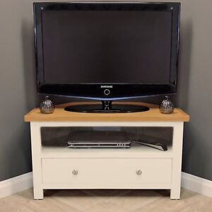 brand new d5f9b fc64e Details about Cotswold Cream Painted Corner Oak TV Unit / Plasma / Solid  Wood / TV Stand / New