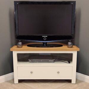 Cotswold Cream Painted Corner Oak Tv Unit Plasma Solid