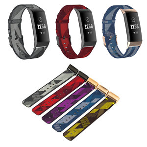 Nylon Ersatz Armband für Fitbit Charge 3 & 4 Fitness Sport Tracker Smartwatch