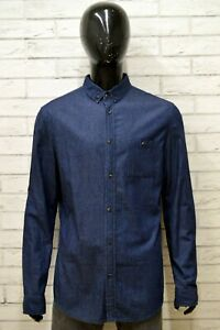 Camicia-Uomo-KIOMI-Taglia-XL-Maglia-Shirt-Man-Cotone-Manica-Lunga-Blu-Regular