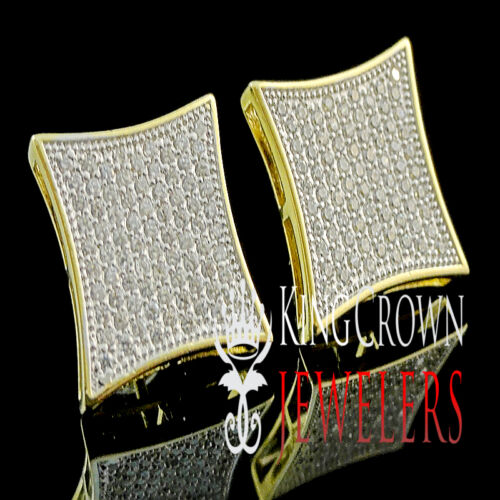 MENS BLOCK SQUARE FLAT SCREEN 14k YELLOW GOLD SILVER 925 EARRING STUD MICRO PAVE