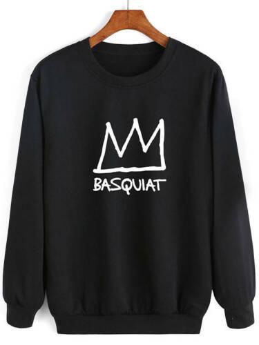 Basquiat Sudore CORONA NERA stampata di alta qualità Felpa Maglione