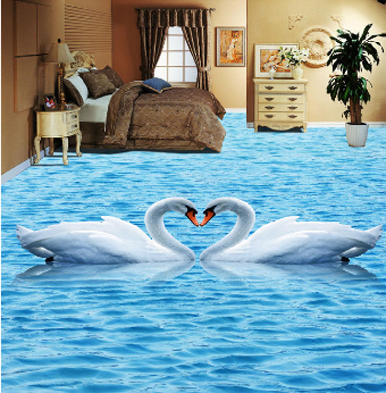 3D Swan Lake 4366 Floor WallPaper Murals Wall Print 5D AJ WALLPAPER AU Lemon